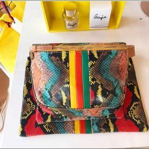 Clare V. Poppy Snake Fannypack Belt Bag